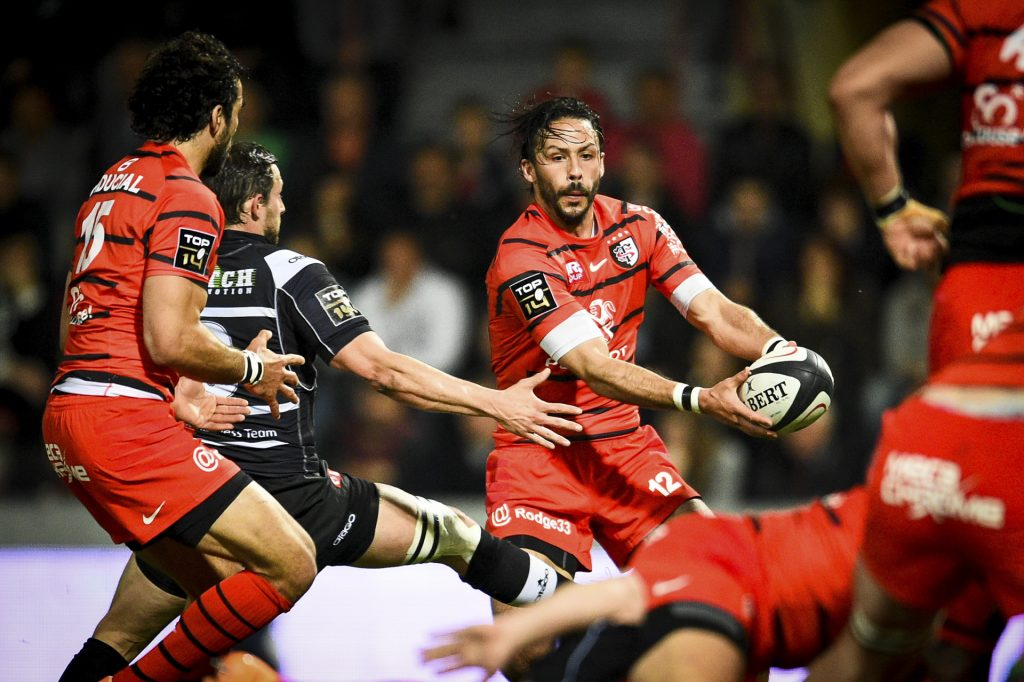 Toulouse's player Clement Poitrenaud in action during the French Top 14 rugby union match Stade Toulousain vs Brive at the Ernest Wallon Stadium in Toulouse, FRANCE - 12/04/2014.