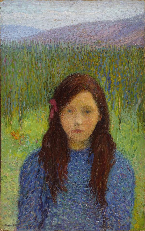En ce moment au musée Lodève - Petite fille en bleu - huile sur carton - Collection Particulière - photo Michel Maket - Terrasse à la fenêtre , vers 1925
